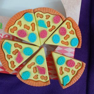 🌈 4/$20 Cute Food Erasers Pizza 6 Pieces